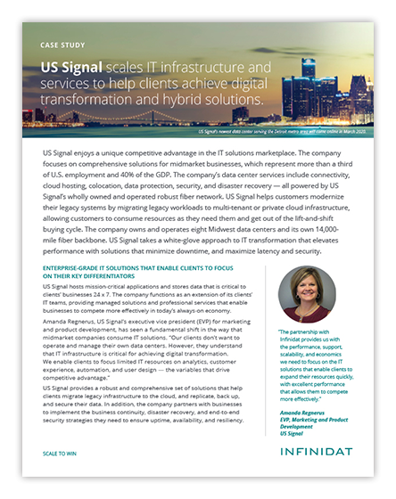 US Signal Scales IT Infrastructure with Infinidat